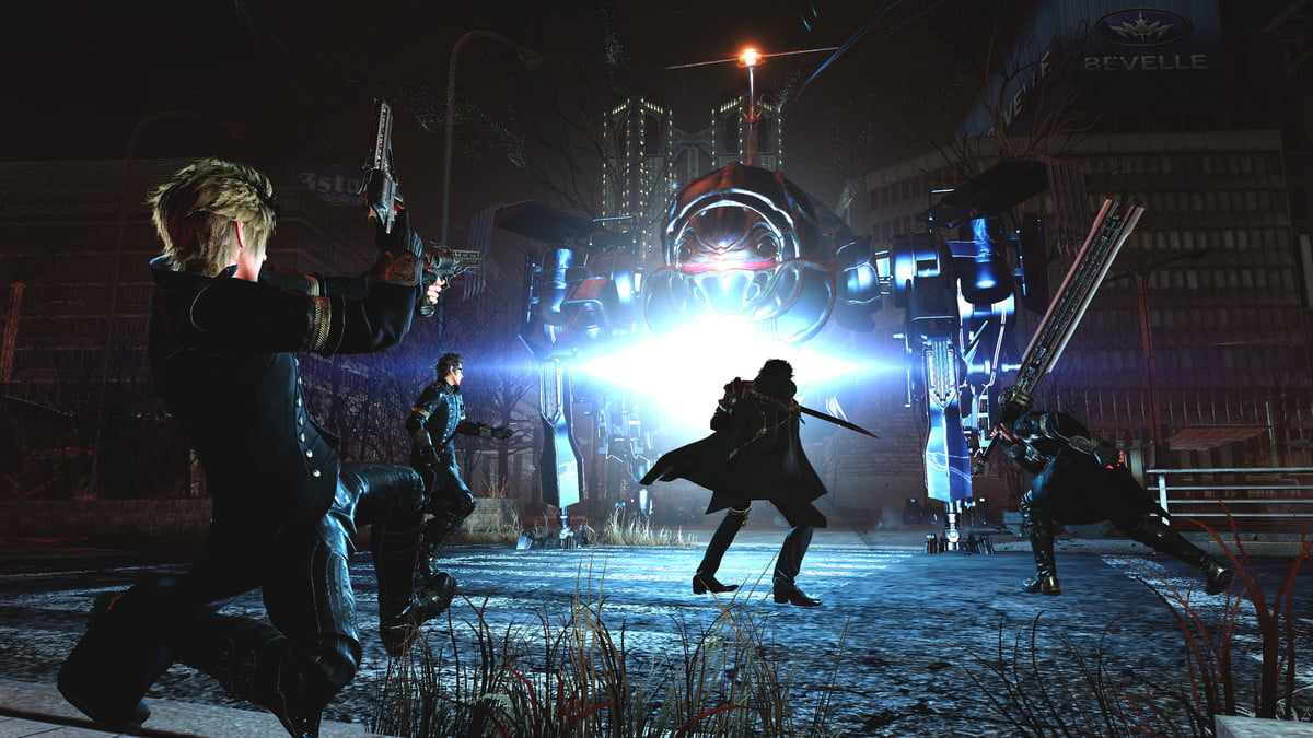 Final Fantasy XV Performance Guide | Screenshot of the gang fighting a large mech in a dark city