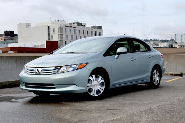 2012 honda civic hybrid review front left angle