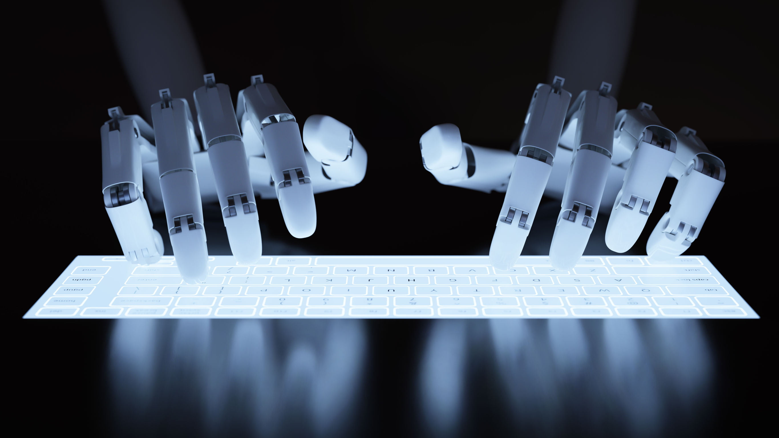 robot typing on conceptual self illuminated keyboard 2731x1536 ver=1