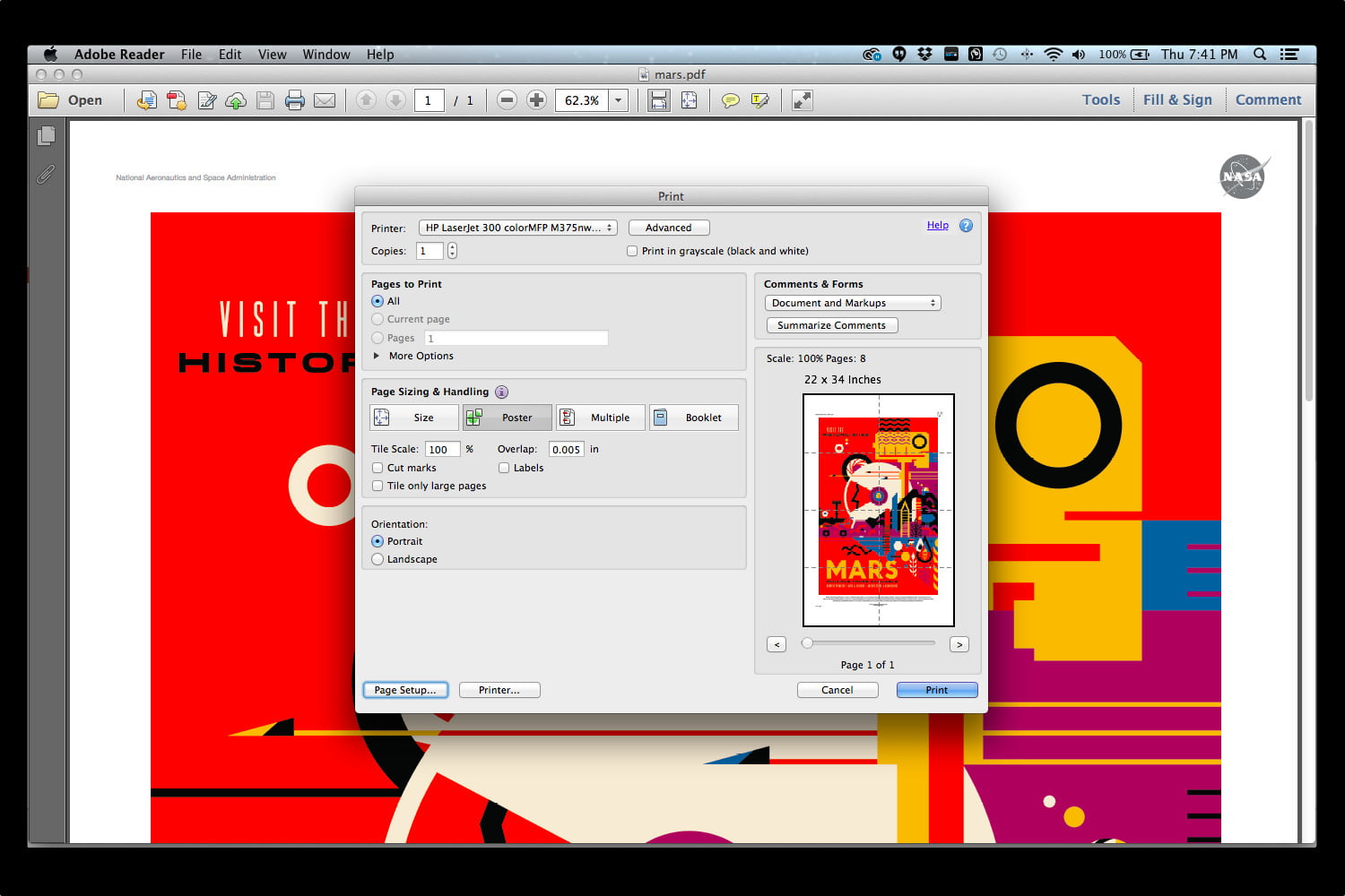 In Adobe Reader's Print Menu, You Can Choose The Poster Option To Print The  20