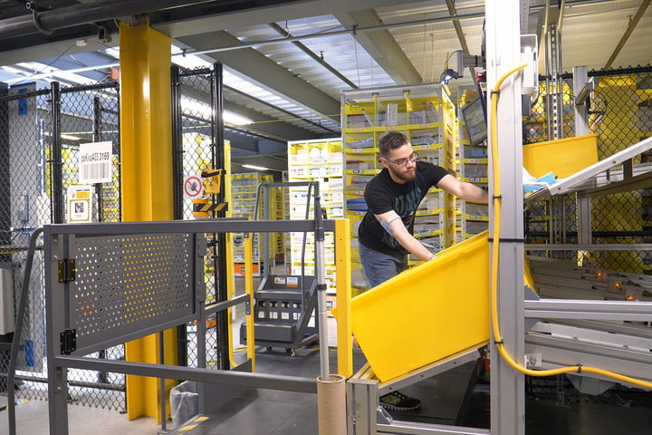 amazon warehouse tour fulfillment center pulling bin