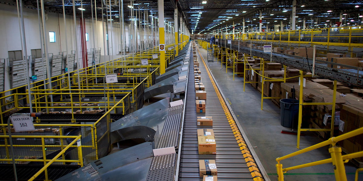 amazon warehouse tour fulfillment conveyer getty