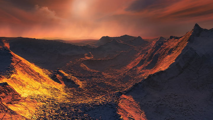 super earth planet candidate discovered orbiting barnards star artist  s impression of the surface a b