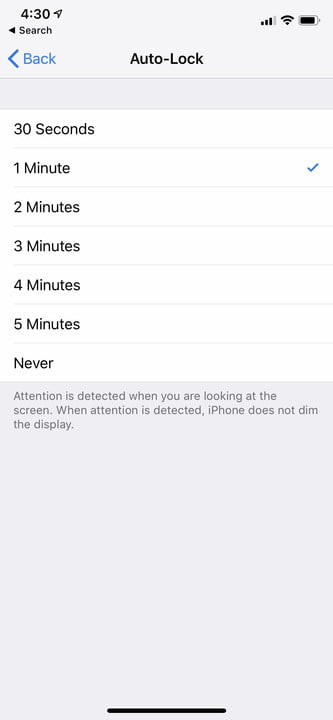 iphone xr settings auto lock