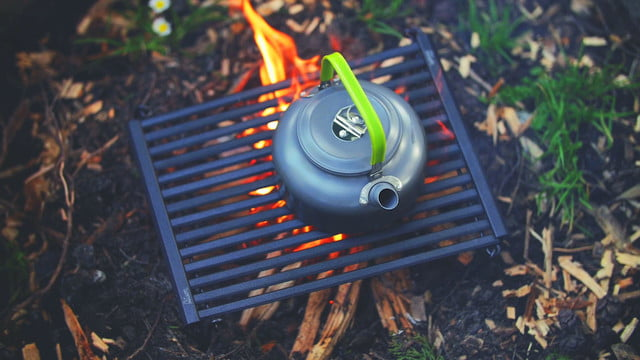 Bison's new BBQ camping grill rolls up into a small, portable tube