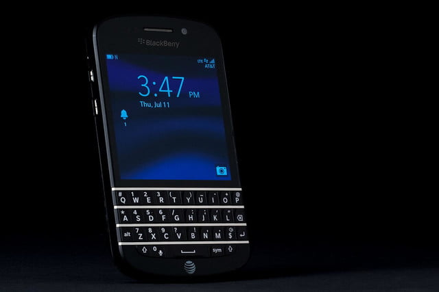 BlackBerry Q10 review front angle