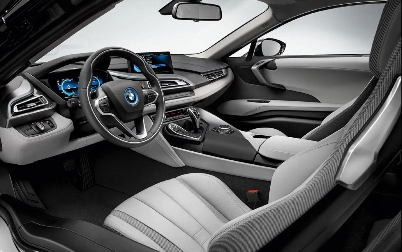 official photos of bmw i8 leaked and the interior is well busy digital trends. Black Bedroom Furniture Sets. Home Design Ideas