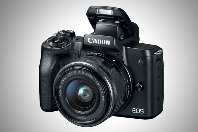 Canon EOS M50 front with flash up