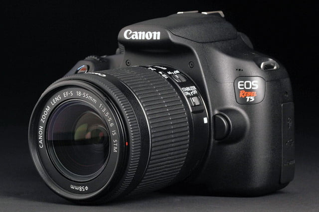 Canon EOS Rebel T5 front left angle lens