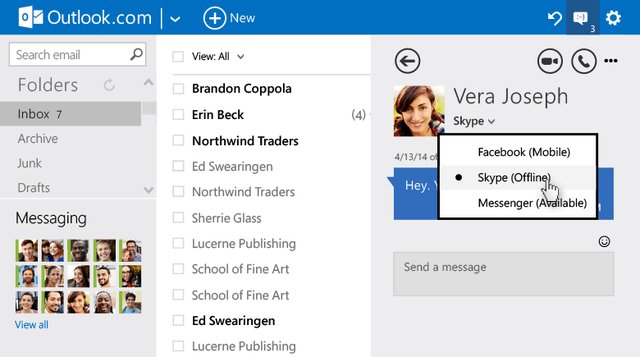 microsoft rolling upgrades web based outlook chat switch body