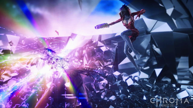 chroma mixes music first person shooting thumping neon landscapes cinematic still 02