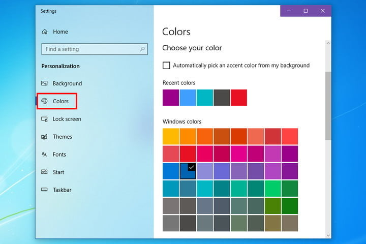 how to make windows 10 look like 7 colors