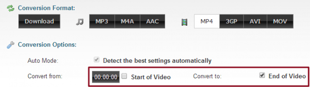 Clip Converter Selecting Start of Video