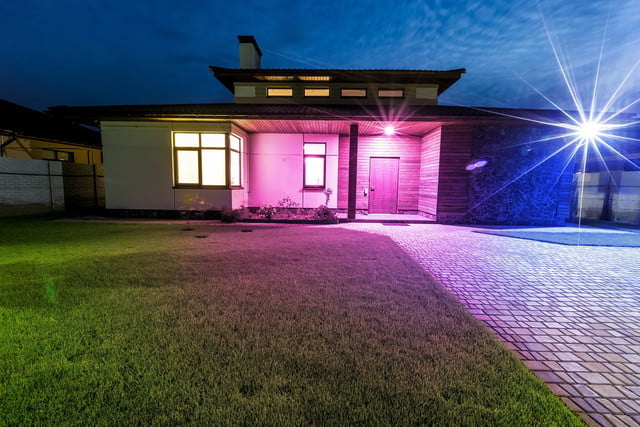 Ilumi Smart Light Bulb Detached Luxury House At Night View From Outside  Front Entrance