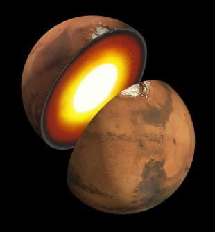 An artist's impression of Mars' inner structure. The topmost layer is the crust, and beneath it is the mantle, which rests on a solid inner core.