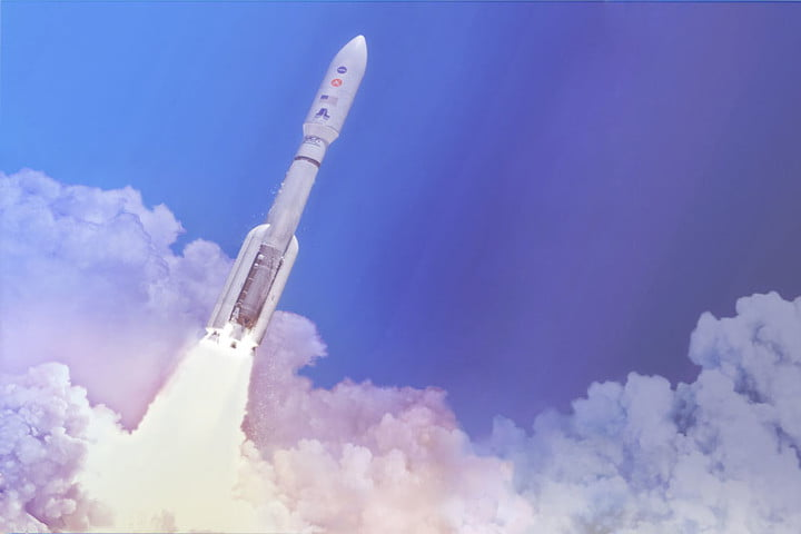 In this artist's concept, a two-stage United Launch Alliance (ULA) Atlas V launch vehicle speeds the Mars 2020 spacecraft toward the Red Planet.