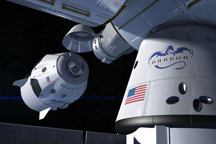 Artist concept of a SpaceX Crew Dragon docking with the International Space Station