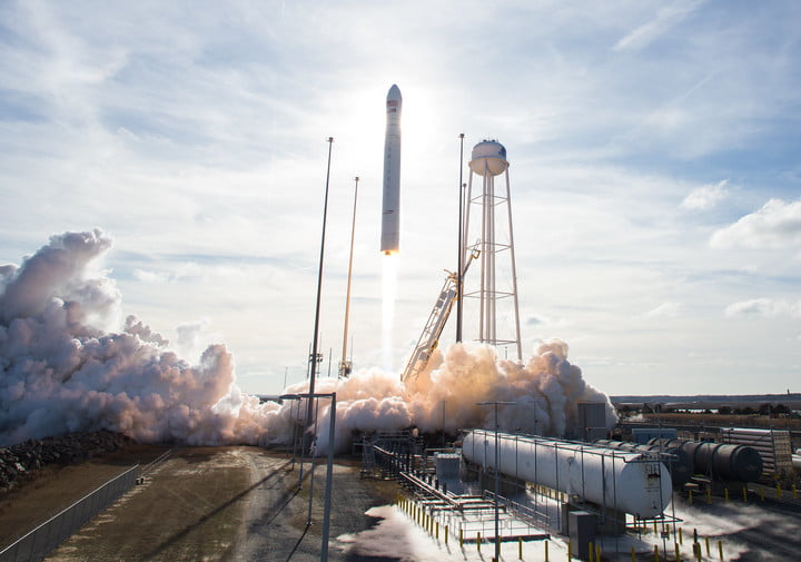The Northrop Grumman Antares rocket, with Cygnus resupply spacecraft onboard, is seen launching from Pad-0A at NASA's Wallops Flight Facility in Virginia on Feb. 15, 2020. The Cygnus spacecraft will carry approximately 8,000 pounds of research, supplies, and hardware to the International Space Station during the commercial provider's upcoming cargo resupply mission for NASA.