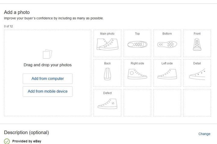 Add photos seller listing eBay screenshot
