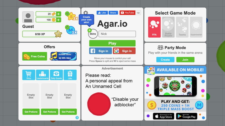 The home page for Agar.io, showing various game modes, special items, purchasable credits and the Play button.