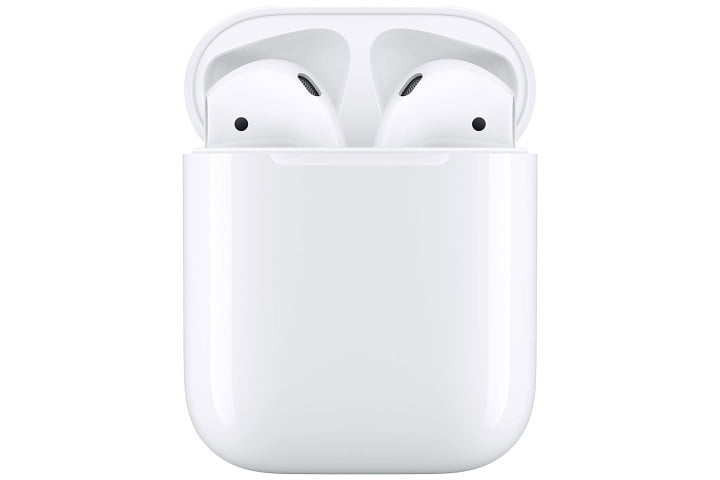 Picture shows Apple AirPods in a wired charging case