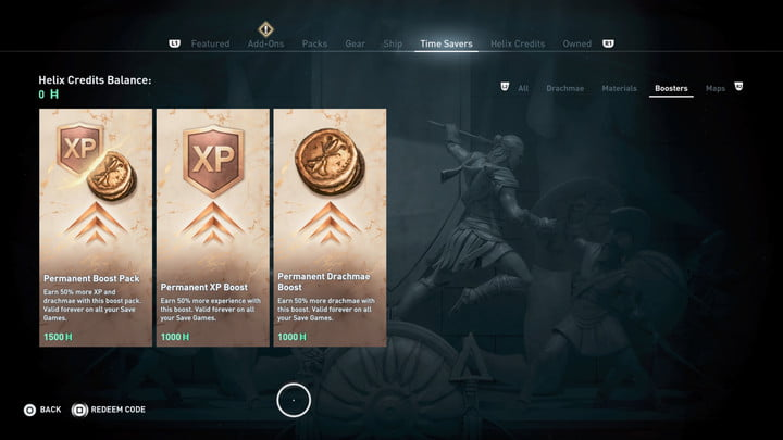 A Ubisoft Store page where gamers can buy permanent XP increases.