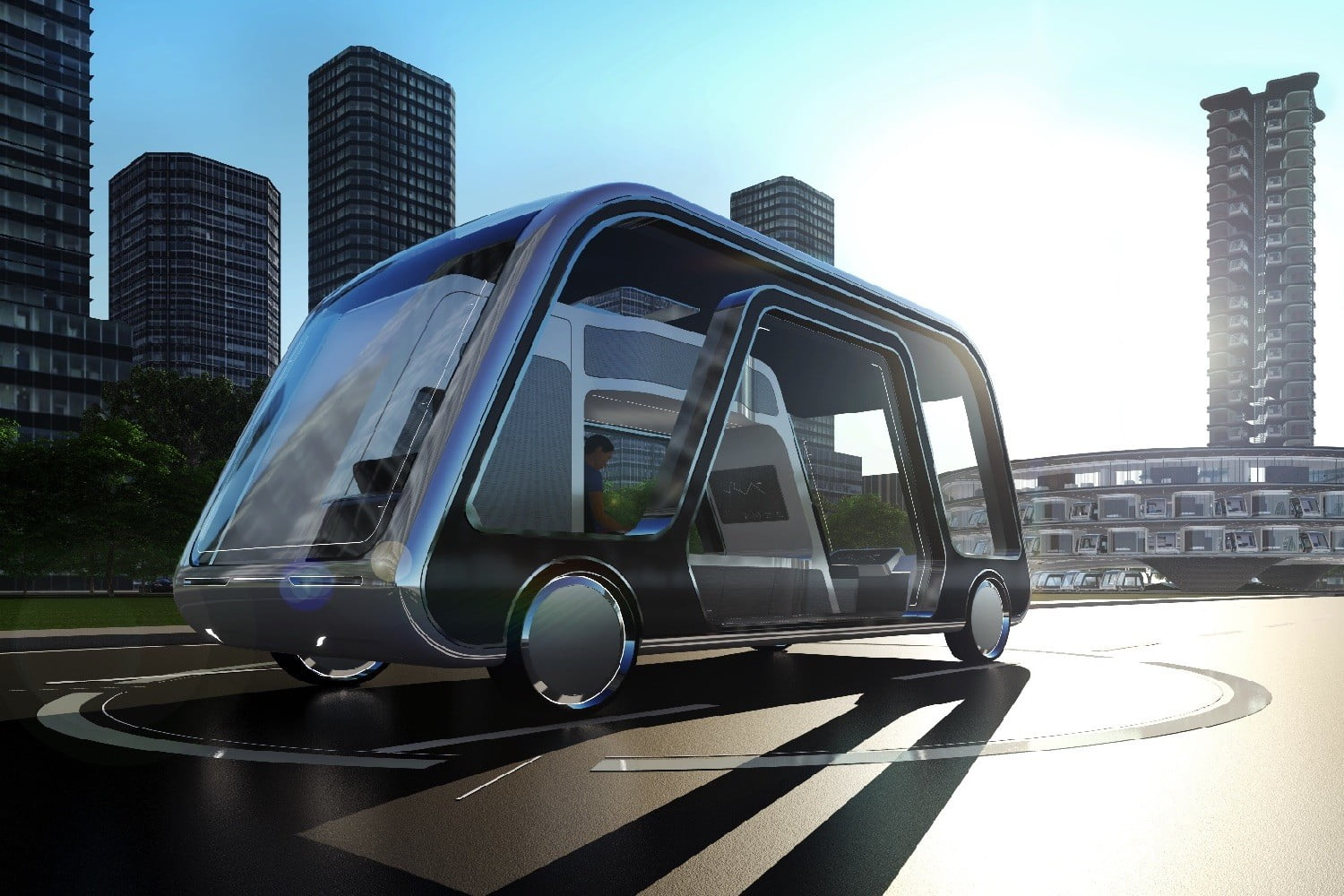 This futuristic autonomous pod hotel drives you around as you sleep
