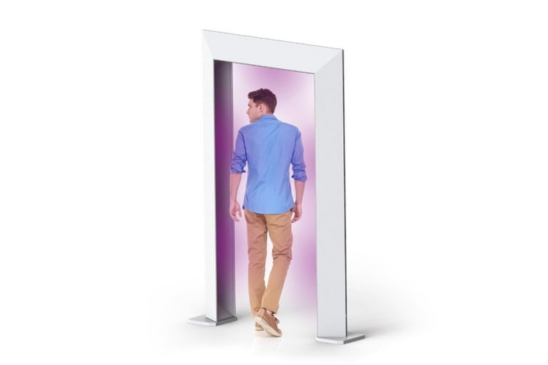 Man walking through Cleanse Portal