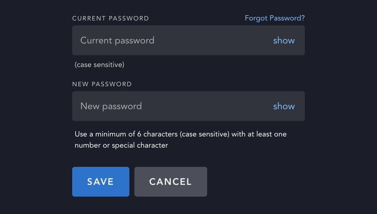 how to change disney plus password