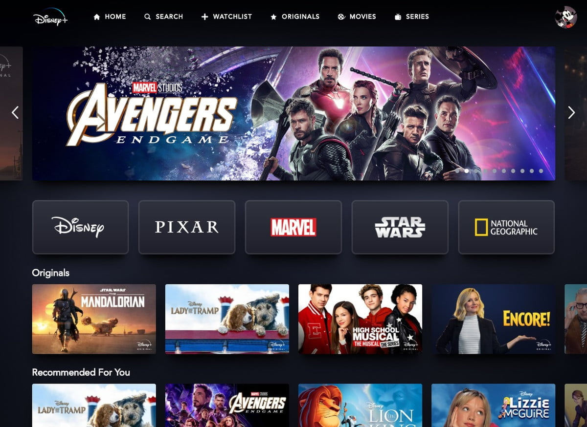 Disney+ Web Interface