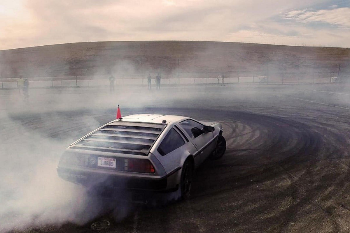 Electric DeLorean pushes the limits of self-driving tech with flawless drifting