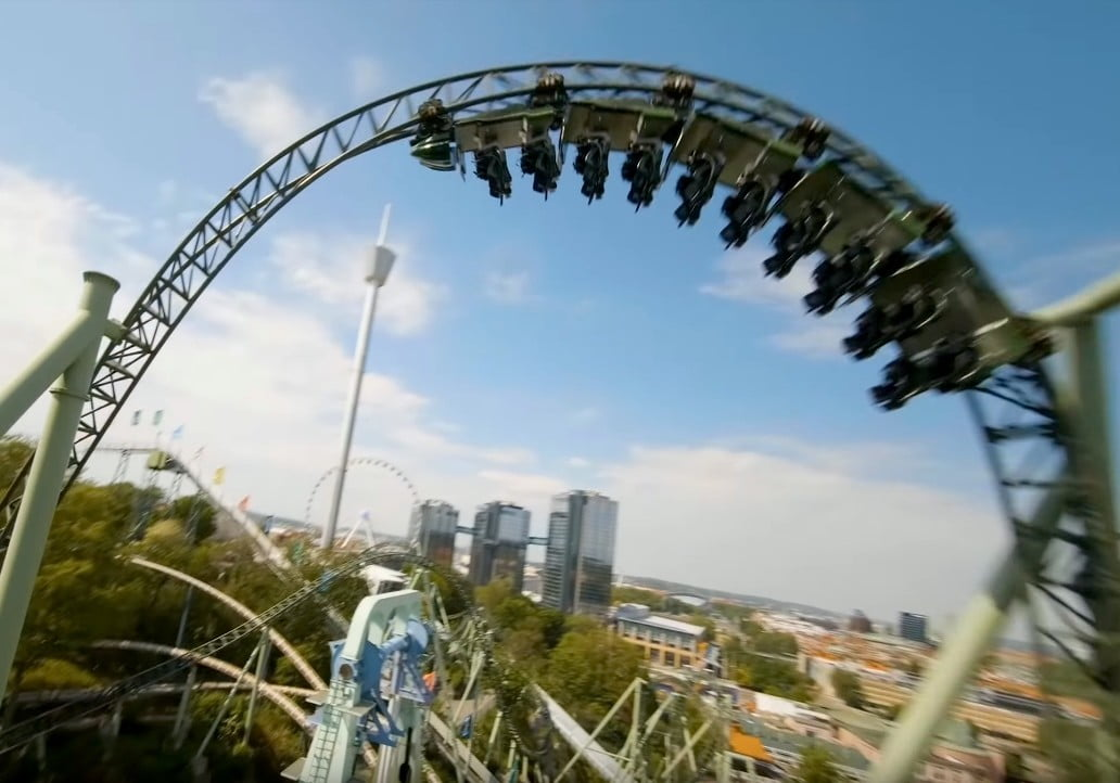 Drone pilot races a roller coaster for awesome action footage