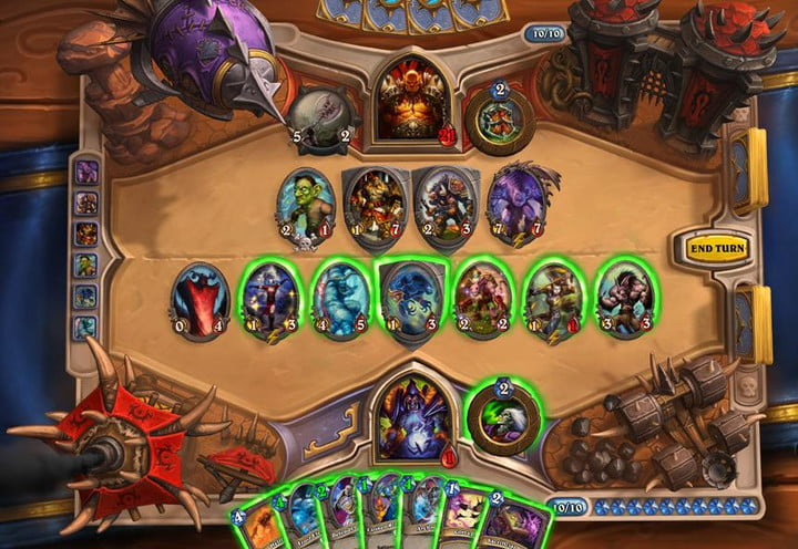Shows a card table from Hearthstone, with your cards up against your opponents.