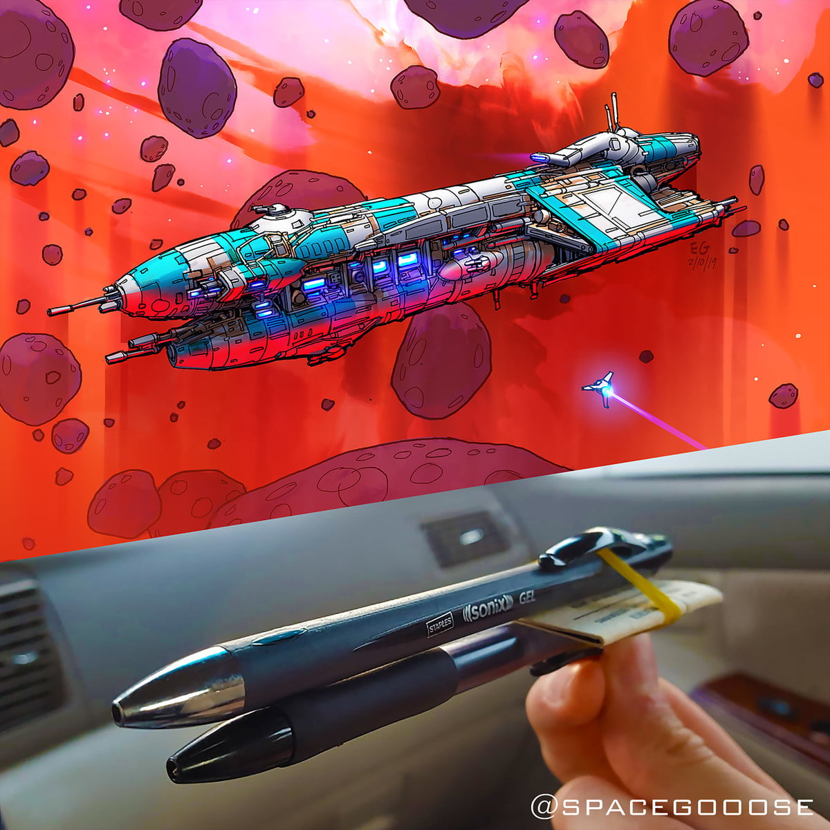 apple engineer draws objects as spaceships eric geusz penship