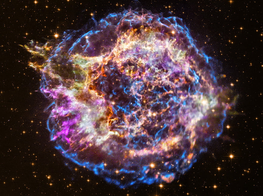 Gas at 20 million degrees glows brightly in this colorful supernova remnant