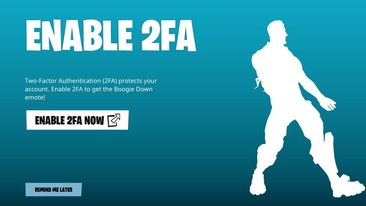 An Epic Games page asking you enable 2FA in Fortnite