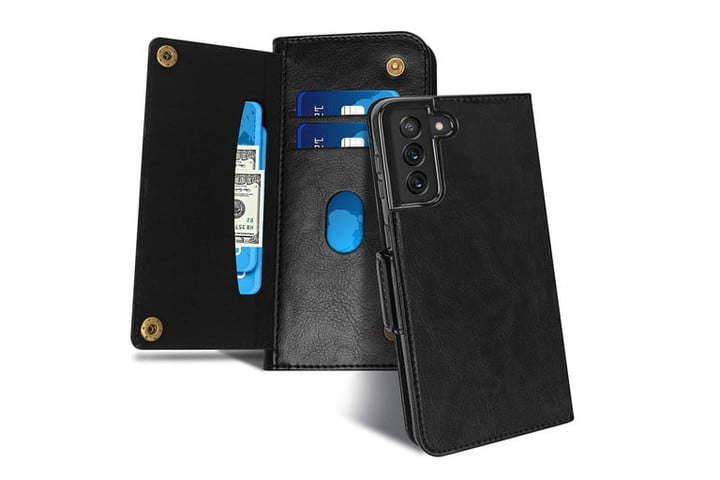 FYY Luxury Leather Wallet Case for Samsung Galaxy S21