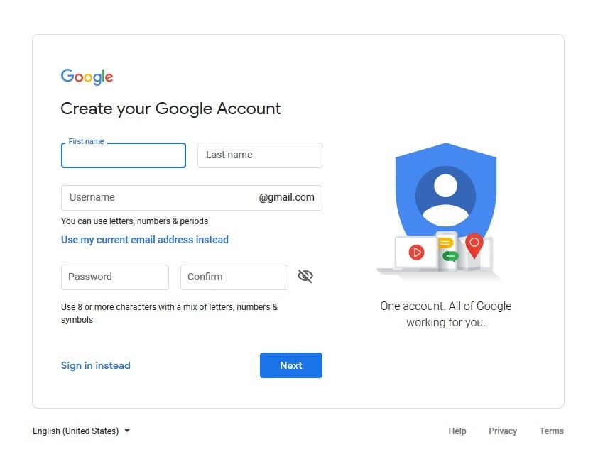 Create a screenshot of the Google Account page
