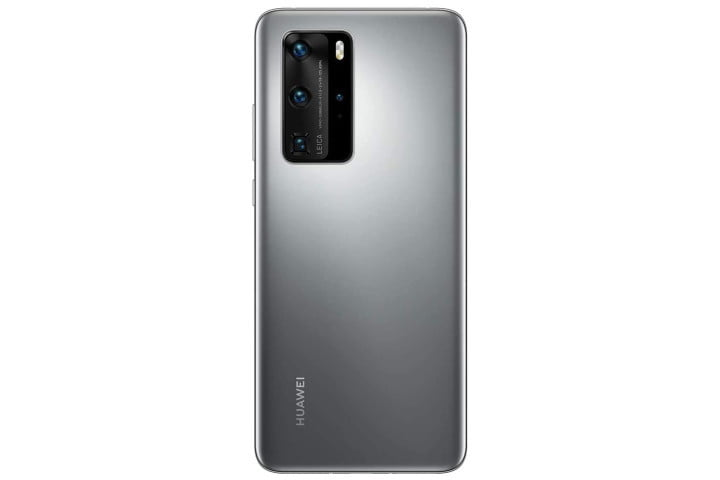Photo shows the rear view of a Huawei P40 Pro phone in Silver Frost color