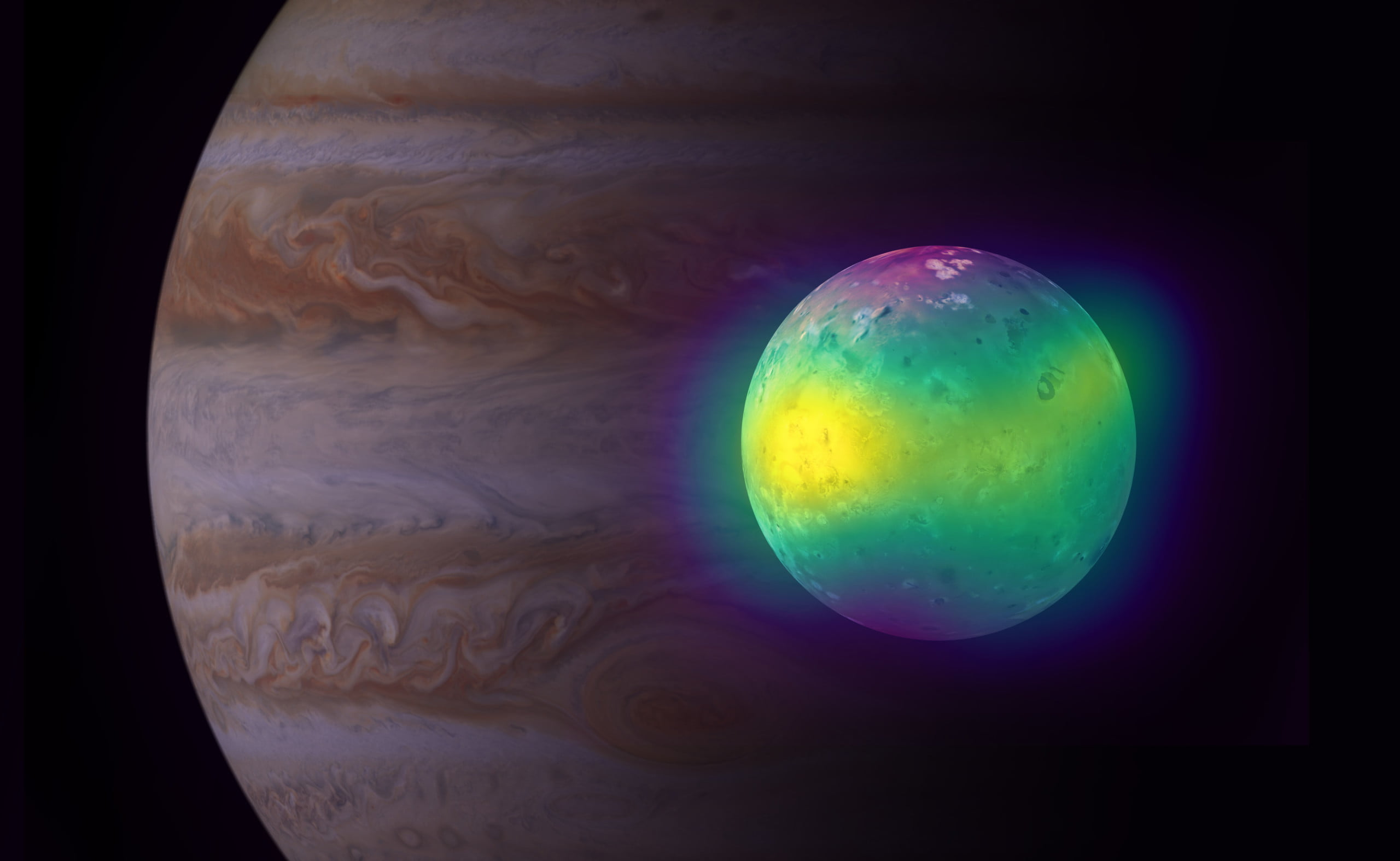 Composite image showing Jupiter's moon Io in radio (ALMA), and optical light (Voyager 1 and Galileo). The ALMA images of Io show for the first time plumes of sulfur dioxide (in yellow) rise up from its volcanoes. Jupiter is visible in the background (Cassini image).