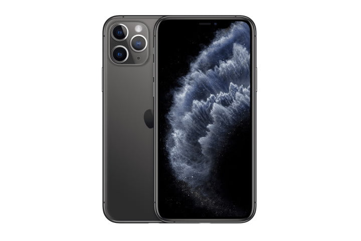 Photo shows the front and rear view of a black iPhone 11 Pro