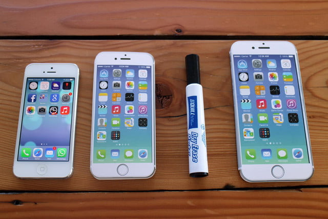 iPhone 5, iPhone 6, dry erase marker, and iPhone 6 Plus