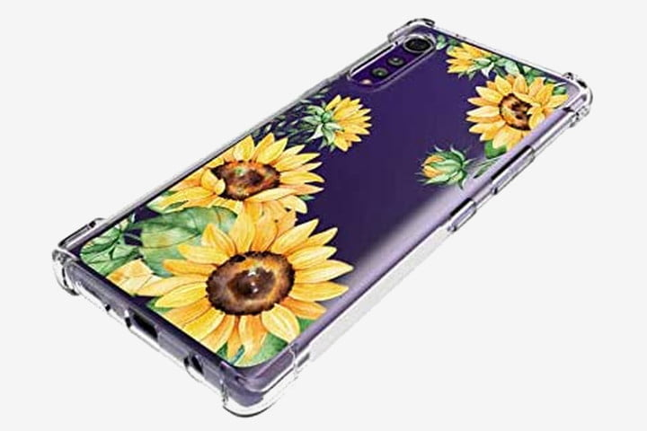 LG Velvet phone in Leychan Slim Flexible TPU Case with yellow sunflowers on it