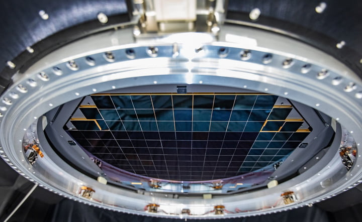 The complete focal plane of the future LSST Camera is more than 2 feet wide and contains 189 individual sensors that will produce 3,200-megapixel images. Crews at SLAC have now taken the first images with it.