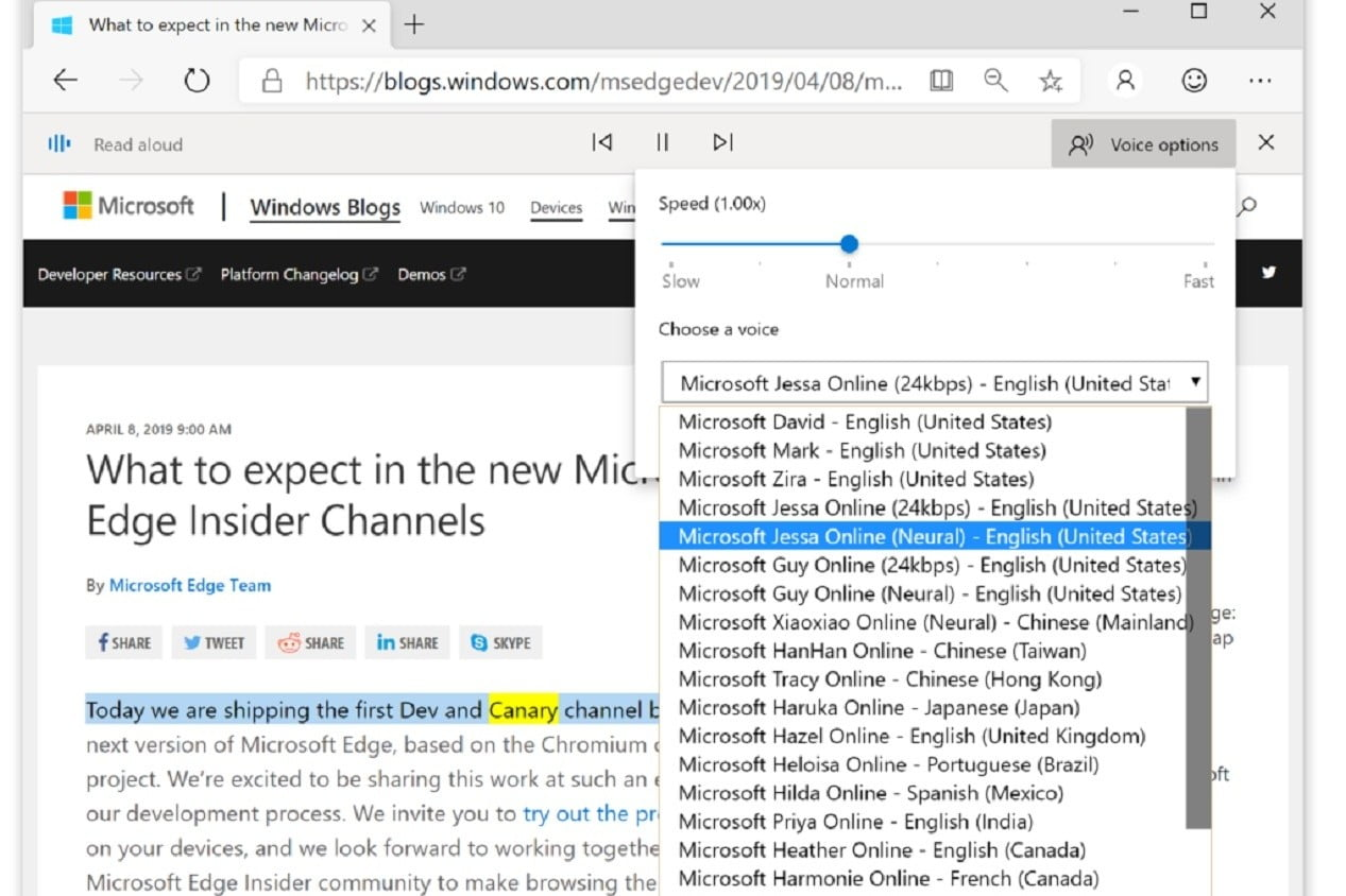 Captura de pantalla de los blogs de Microsoft Edge Windows de Microsoft