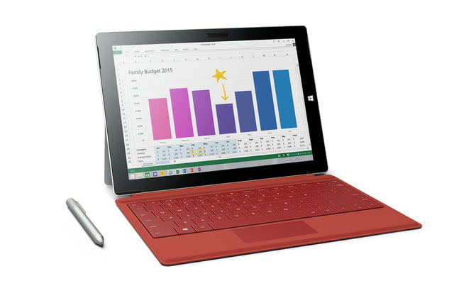 Microsoft Surface 3 red pen front angle 2