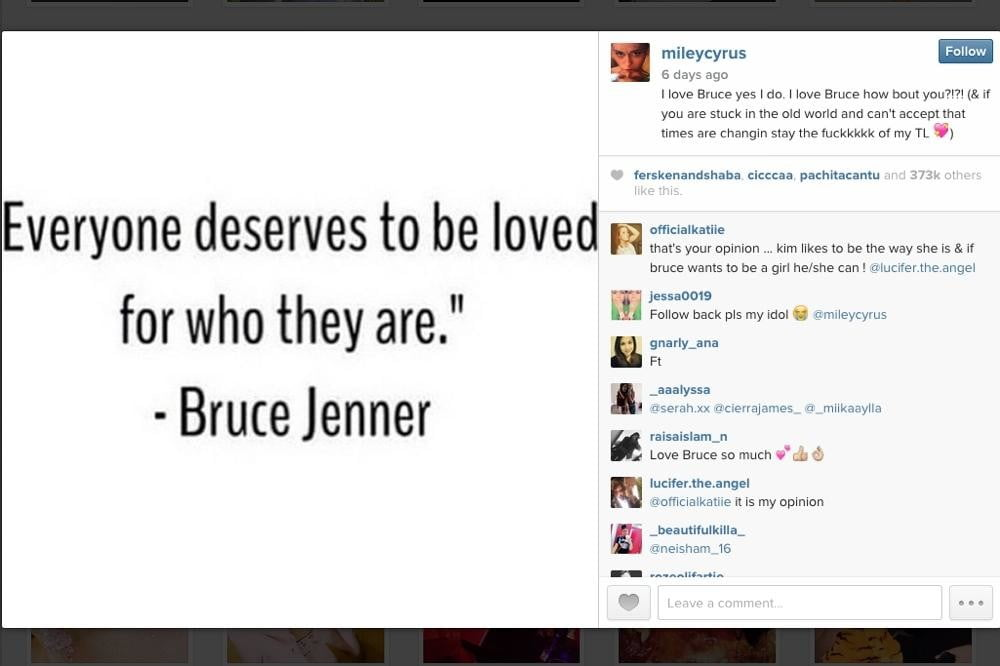 Miley Cyrus Smokes Pot on Instagram to Honor Bruce Jenner
