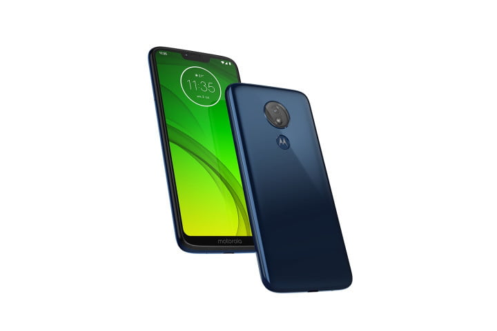 Photo shows the front and rear view of the Moto G7 Power phone in marine blue