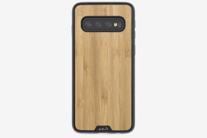 Photo shows a Samsung Galaxy S10 phone with a Mous Limitless 2.0 Case in Bamboo