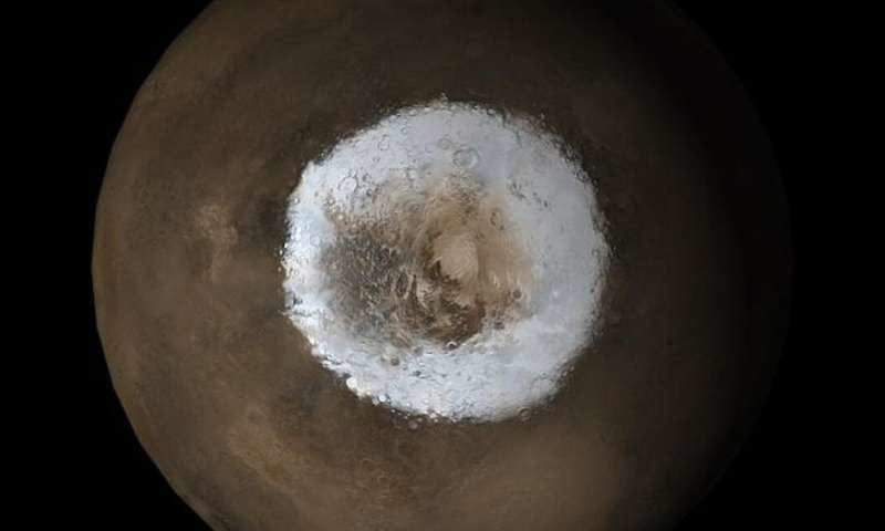 Changes in Mars' atmosphere are driven by enormous CO2 ice cap at its pole